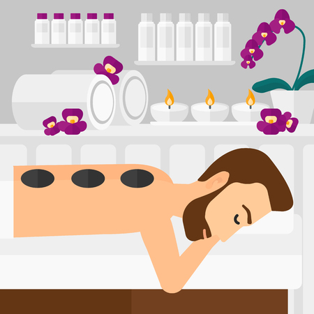 A hipster man with the beard relaxing while getting stone therapy massage on the background of spa center vector flat design illustration. Square layout.
