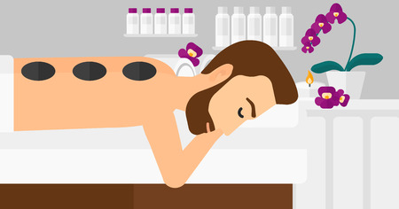 A hipster man with the beard relaxing while getting stone therapy massage on the background of spa center vector flat design illustration. Horizontal layout. Illustration