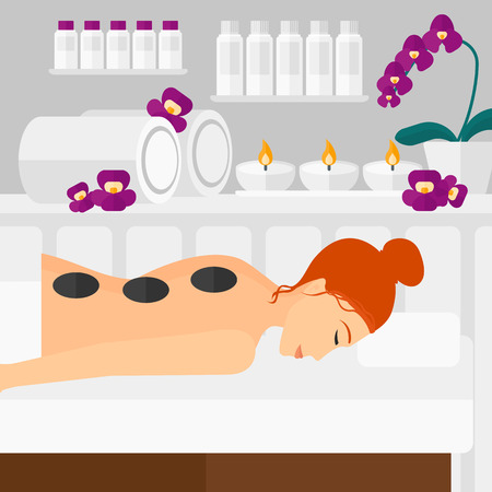 woman lying in bed: A woman relaxing while getting stone therapy massage on the background of spa center vector flat design illustration. Square layout.