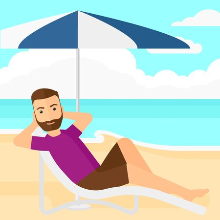 chaise longue: A hipster man with the beard sitting in a chaise longue under umbrella on the background of sand beach with blue sea vector flat design illustration. Square layout. Illustration