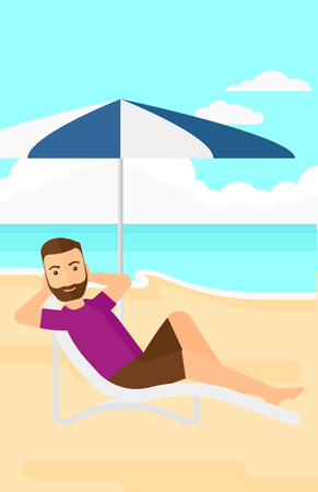 A hipster man with the beard sitting in a chaise longue under umbrella on the background of sand beach with blue sea vector flat design illustration. Vertical layout.