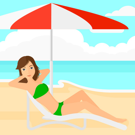 chaise longue: A woman with the beard sitting in a chaise longue under umbrella on the background of sand beach with blue sea vector flat design illustration. Square layout. Illustration