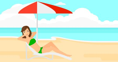 sunbath: A woman with the beard sitting in a chaise longue under umbrella on the background of sand beach with blue sea vector flat design illustration. Horizontal layout. Illustration