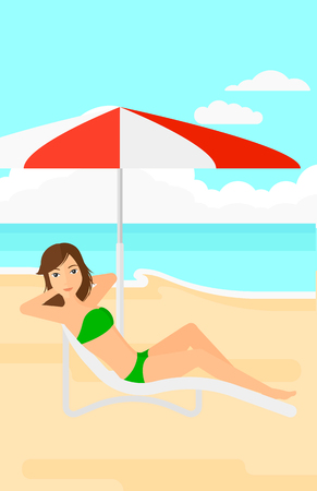 chaise longue: A woman with the beard sitting in a chaise longue under umbrella on the background of sand beach with blue sea vector flat design illustration. Vertical layout.