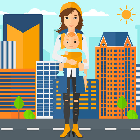family human: A woman holding baby in sling on the background of modern city vector flat design illustration. Square layout. Illustration