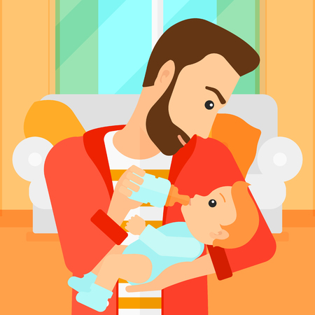 family home: A hipstre man with the beard feeding a little baby with a milk bottle on the background of living room vector flat design illustration. Square layout.