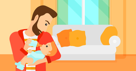 family eating: A hipstre man with the beard feeding a little baby with a milk bottle on the background of living room vector flat design illustration. Horizontal layout.