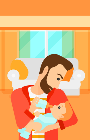 family eating: A hipstre man with the beard feeding a little baby with a milk bottle on the background of living room vector flat design illustration. Vertical layout.