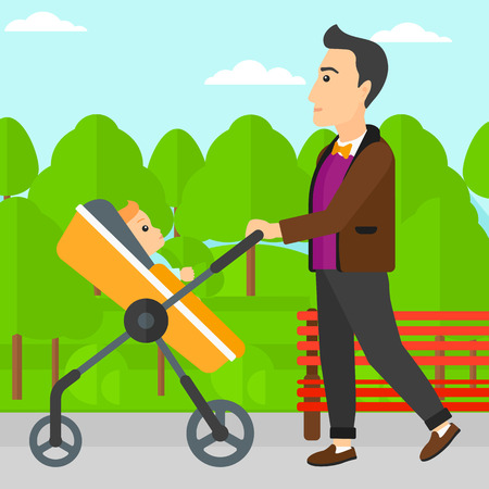 perambulator: A young father walking with baby stroller in the park vector flat design illustration. Square layout.