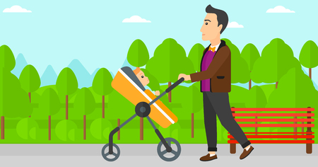 A young father walking with baby stroller in the park vector flat design illustration. Horizontal layout. Illustration