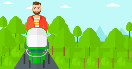 family human: A hipstre man with the beard walking with baby stroller in the park vector flat design illustration. Horizontal layout. Illustration