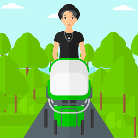 A young mother walking with baby stroller in the park vector flat design illustration. Square layout. Illustration