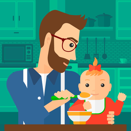 A young dad holding a spoon and feeding baby on a kitchen background vector flat design illustration. Square layout. Illustration