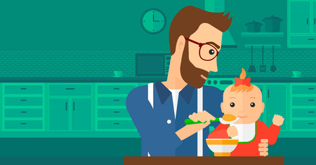 A young dad holding a spoon and feeding baby on a kitchen background vector flat design illustration. Horizontal layout.