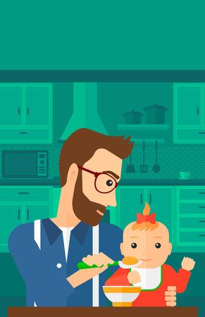 cocina caricatura: Un padre joven que sostiene una cuchara y la alimentaci�n del beb� en una ilustraci�n de dise�o plano de la cocina del vector del fondo. disposici�n vertical. Vectores