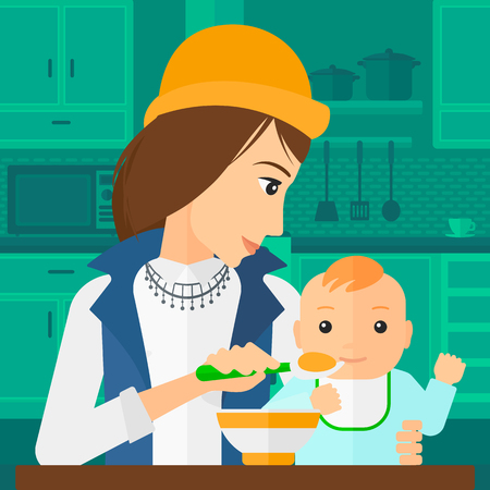 family home: A young mother holding a spoon and feeding baby on a kitchen background vector flat design illustration. Square layout.