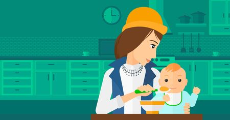 family eating: A young mother holding a spoon and feeding baby on a kitchen background vector flat design illustration. Horizontal layout.
