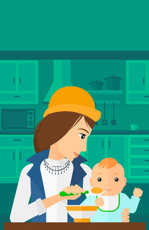 family eating: A young mother holding a spoon and feeding baby on a kitchen background vector flat design illustration. Vertical layout.