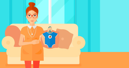 expectant: A pregnant woman holding clothes for her baby on the background of living room vector flat design illustration. Horizontal layout. Illustration