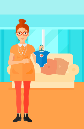 A pregnant woman holding clothes for her baby on the background of living room vector flat design illustration. Vertical layout. Vectores