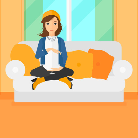 family sofa: A pregnant woman sitting on a sofa in living room vector flat design illustration. Square layout. Illustration