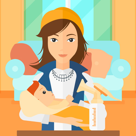 A woman holding a newborn baby and a breast pump standing on the table in front of her on the background of living room vector flat design illustration. Square layout. Illustration