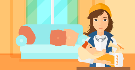 A woman holding a newborn baby and a breast pump standing on the table in front of her on the background of living room vector flat design illustration. Horizontal layout. Illustration