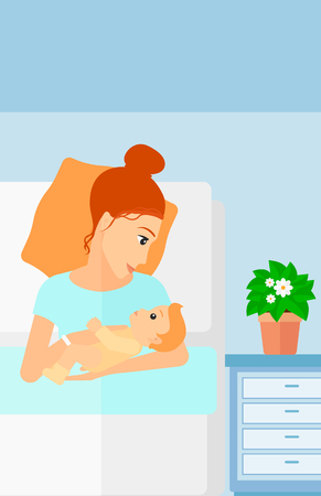 maternity ward: A woman lying in bed with a newborn baby in a maternity ward vector flat design illustration. Vertical layout.