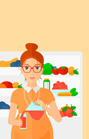 vertical fridge: A pregnant woman pouring juice in a glass on the background of  refrigerator full of fruits and vegetables vector flat design illustration. Vertical layout. Illustration