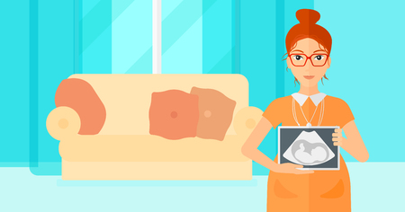 childbearing: A pregnant woman holding a tablet with an ultrasound image on the background of living room vector flat design illustration. Horizontal layout.