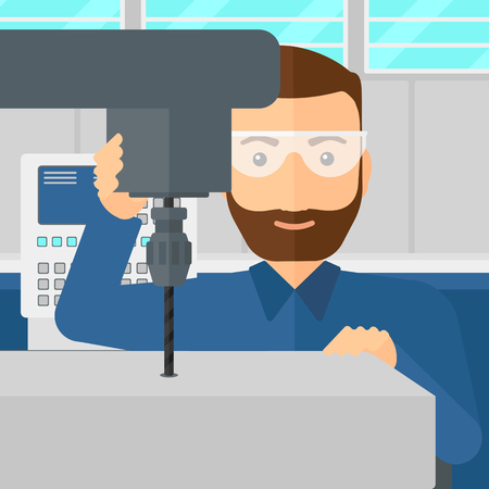 details: A hipster man with the beard working with a drilling machine at factory workshop background vector flat design illustration. Square layout. Illustration