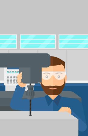 machining: A hipster man with the beard working with a drilling machine at factory workshop background vector flat design illustration. Vertical layout. Illustration