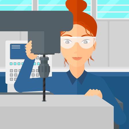 Eine Frau arbeitet mit einer Bohrmaschine an der Fabrik Werkstatt Hintergrund Vektor flache Design-Illustration. Platz Layout. Vektorgrafik