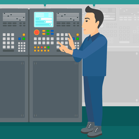 A man working on control panel at factory workshop vector flat design illustration. Square layout. 矢量图像