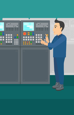control panel: A man working on control panel at factory workshop vector flat design illustration. Vertical layout.