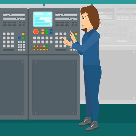 A woman working with control panel at factory workshop vector flat design illustration. Square layout.