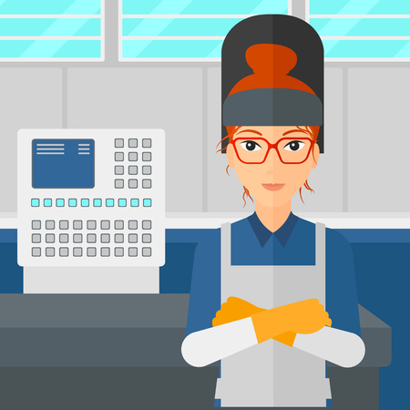 A woman at factory workshop background vector flat design illustration. Square layout.
