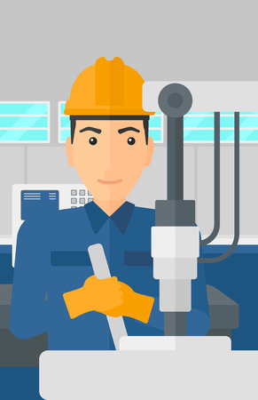 A man working with an industrial equipment at factory workshop background vector flat design illustration. Vertical layout.