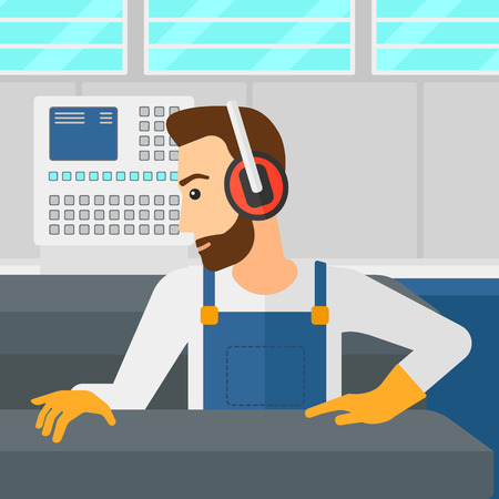 A hipster man with the beard working on a steel-rolling mill at factory workshop background vector flat design illustration. Square layout. Иллюстрация