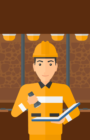 checking: A man checking a paper plan with the flashlight on the background of mining tunnel with lights and rails vector flat design illustration. Vertical layout.