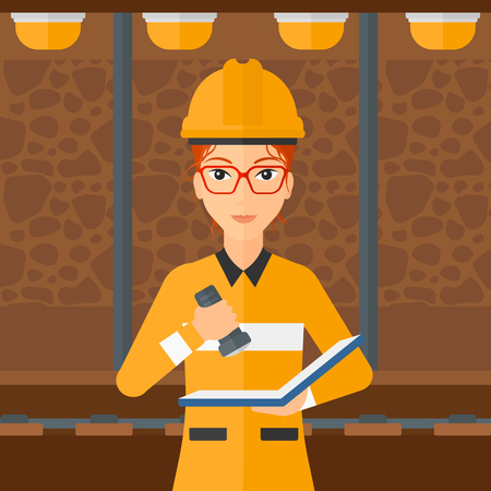 building inspector: A woman checking a paper plan with the flashlight on the background of mining tunnel with lights and rails vector flat design illustration. Square layout.