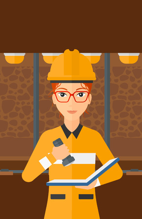 A woman checking a paper plan with the flashlight on the background of mining tunnel with lights and rails vector flat design illustration. Vertical layout.