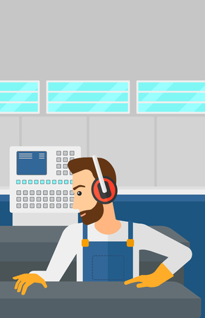 A hipster man with the beard working on a steel-rolling mill at factory workshop background vector flat design illustration. Vertical layout.