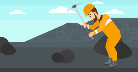 pickaxe: A hipster man with the beard working with a pickaxe on the background of coal mine vector flat design illustration. Horizontal layout. Illustration