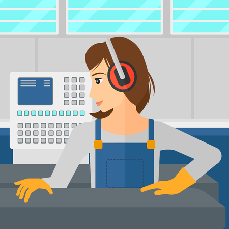 A woman working on a steel-rolling mill at factory workshop background vector flat design illustration. Square layout. Vettoriali