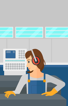 steel mill: A woman working on a steel-rolling mill at factory workshop background vector flat design illustration. Vertical layout.