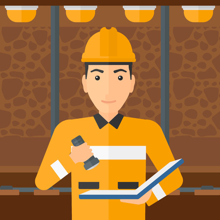 building inspector: A man checking a paper plan with the flashlight on the background of mining tunnel with lights and rails vector flat design illustration. Square layout.