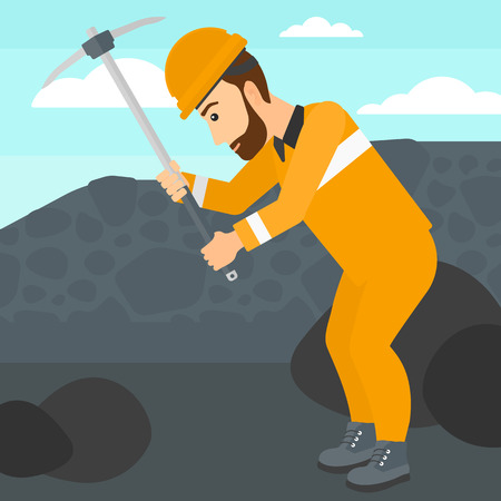 coal mine: A hipster man with the beard working with a pickaxe on the background of coal mine vector flat design illustration. Square layout.