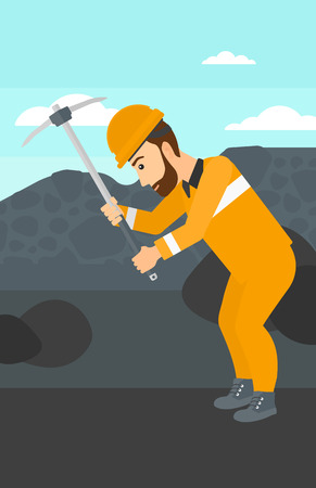 pickaxe: A hipster man with the beard working with a pickaxe on the background of coal mine vector flat design illustration. Vertical layout.