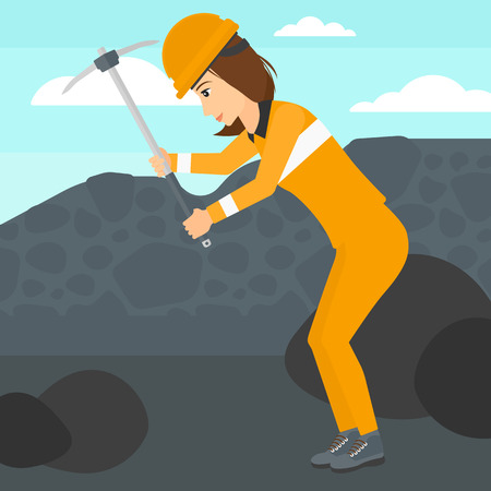 pickaxe: A woman working with a pickaxe on the background of coal mine vector flat design illustration. Square layout.